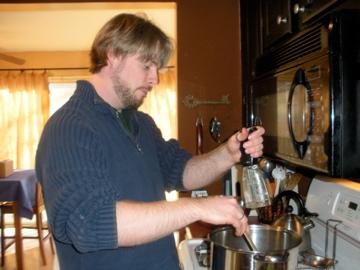 Greg grinding pepper for stuffing