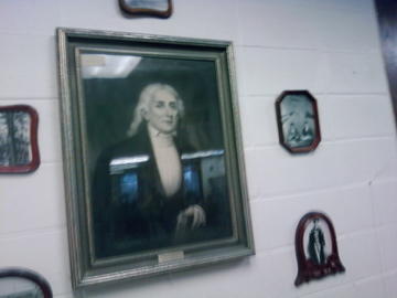 This is the portrait of Gideon Blackburn, hanging in Blackburn College's Lumpkin Library. Gideon was the founder of Blackburn College, and our cat Gideon is named after him. (They look nothing alike.)