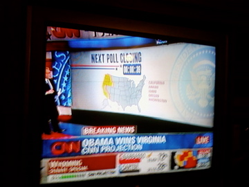 On election night, Greg, Dan and I watched the returns at home. This was the first moment things started to shift, when CNN called Virginia for Obama.